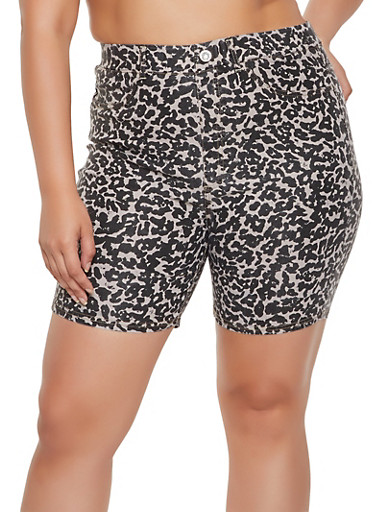 Plus Size Pull On Leopard Bermuda Shorts,TAUPE,large