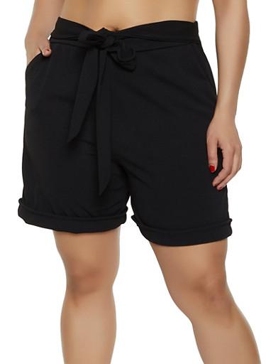 Plus Size Crepe Tie Front Shorts,BLACK,large