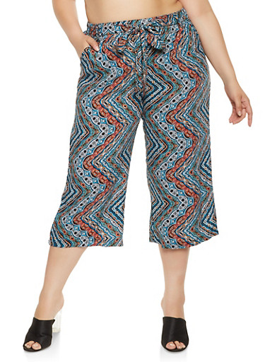 Plus Size Printed Cropped Palazzo Pants,TEAL,large