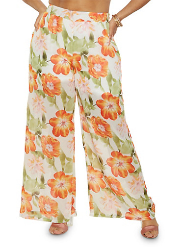 Plus Size Floral Palazzo Pants,IVORY,large