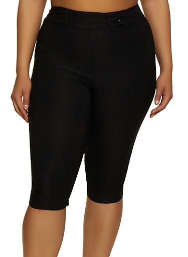 Plus Size Pull On Stretch Capris,BLACK,large