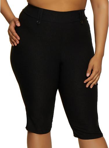 Plus Size Stretch Capris,BLACK,large