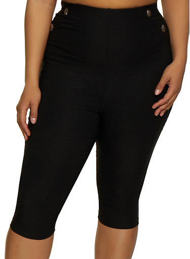 Plus Size Button Detail Stretch Capris,BLACK,large