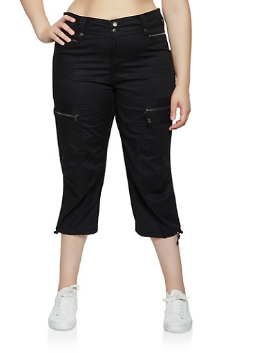 Plus Size Drawstring Hem Zip Cargo Capris,BLACK,large