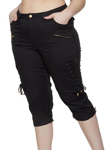 Plus Size Lace Up Capri Pants,BLACK,large