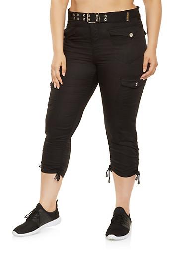 Plus Size Belted Cargo Capri Pants,BLACK,large