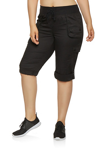 Plus Size Tabbed Cargo Capri Pants,BLACK,large