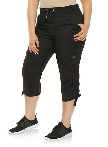 Plus Size Drawstring Side Cargo Capri Pants,BLACK,large