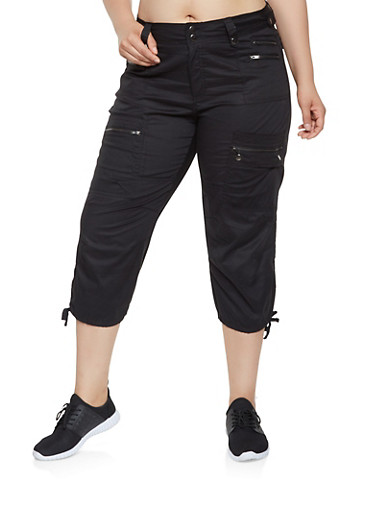 Plus Size Cargo Capri Pants,BLACK,large