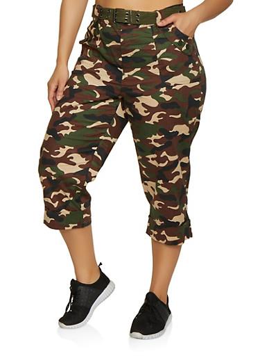 Plus Size Camo Cargo Capri Pants | 0865038349247,OLIVE,large