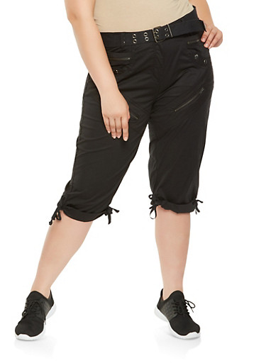 Plus Size Tie Hem Cargo Capri Pants,BLACK,large