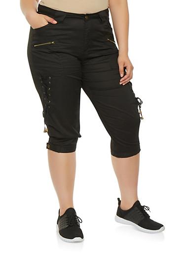 Plus Size Lace Up Side Cargo Capri Pants,BLACK,large