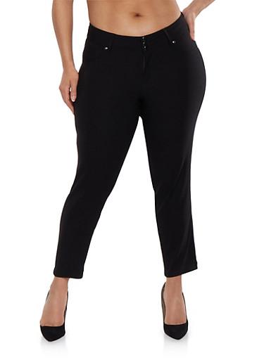 Plus Size Hyperstretch Push Up Pants,BLACK,large