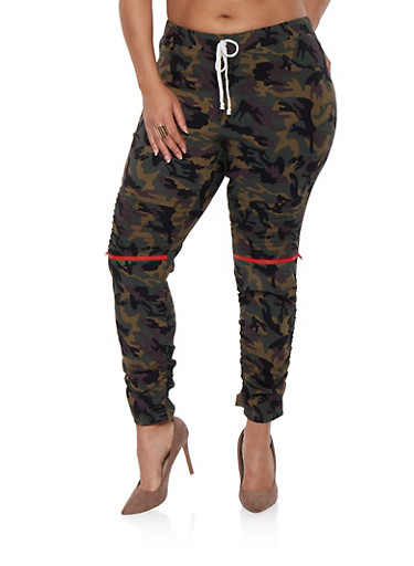 Plus Size Camo Moto Jeggings | Tuggl