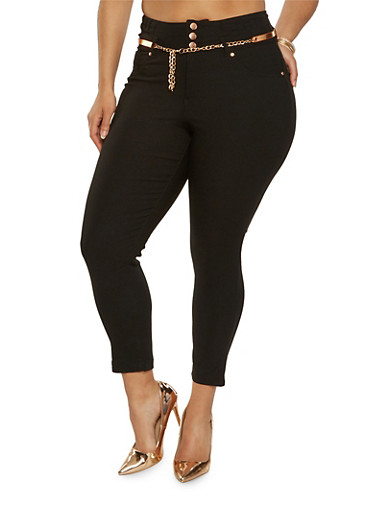 Plus Size Belted Hyperstretch Pants,BLACK,large