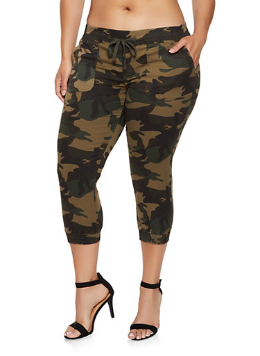Plus Size Cropped Camo Joggers,OLIVE,large