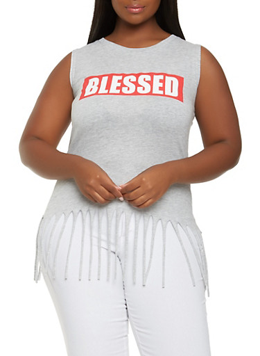 Plus Size Blessed Graphic Fringe Top,HEATHER,large
