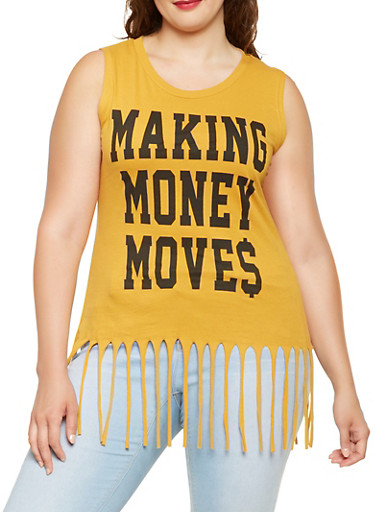 Plus Size Graphic Fringe Tank Top,MUSTARD,large