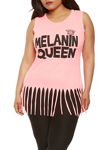 Plus Size Graphic Fringe Tank Top,PINK,large