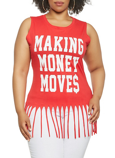 Plus Size Graphic Fringe Tank Top,RED,large