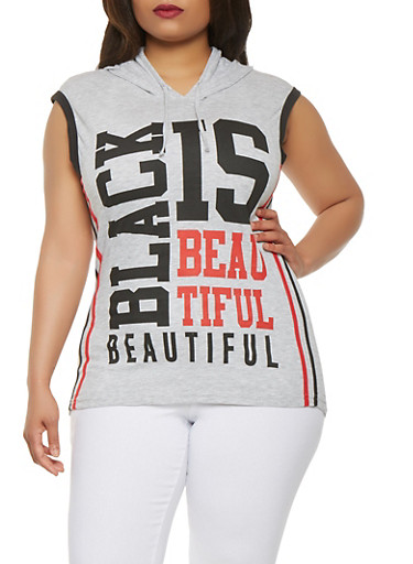 Plus Size Black is Beautiful Graphic Top,GRAY,large