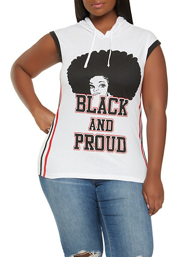 Plus Size Black and Proud Graphic Tank Top,WHITE,large