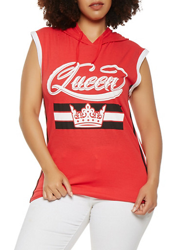 Plus Size Queen Graphic Hooded Top,RED,large