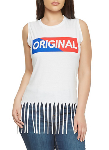 Plus Size Graphic Fringe Tank Top,WHITE,large