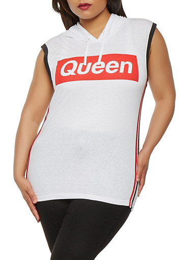 Plus Size Queen Graphic Hooded Top,WHITE,large