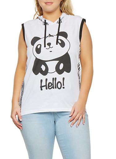 Plus Size Panda Graphic Hooded Tank Top,WHITE,large