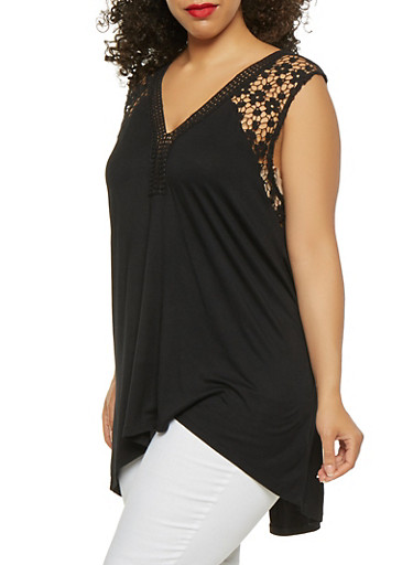 Plus Size Crochet Detail Tank Top,BLACK,large