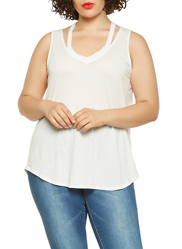Plus Size Caged Tank Top,WHITE,large