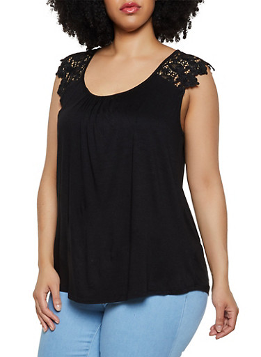 Plus Size Crochet Cap Sleeve Top,BLACK,large
