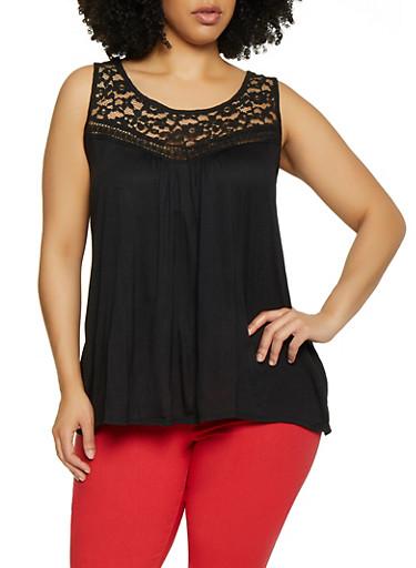 Plus Size Lace Yoke Sleeveless Top | 0910054268340,BLACK,large