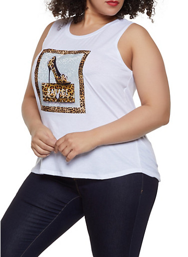 Plus Size Rhinestone Savage Graphic Tank,WHITE,large