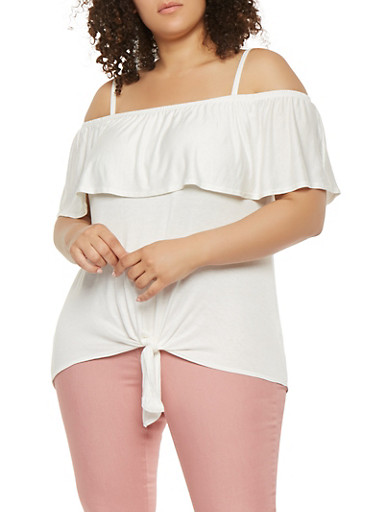 Plus Size Off the Shoulder Tie Front Top,WHITE,large