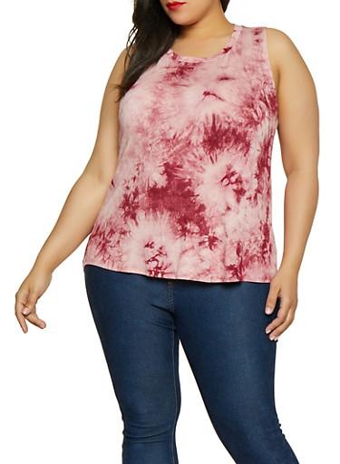 Plus Size Tie Dye Tank Top,WINE,large