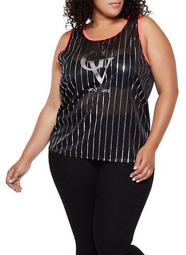 Plus Size Good Vibes Jersey Mesh Top,BLACK,large