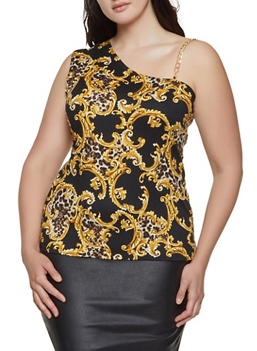 Plus Size Status Print Chain Strap Sleeveless Top,BLACK,large
