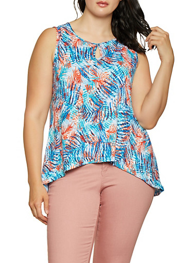 Plus Size Leaf Print High Low Top,BLUE,large