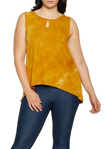 Plus Size Tie Dye High Low Top,MUSTARD,large