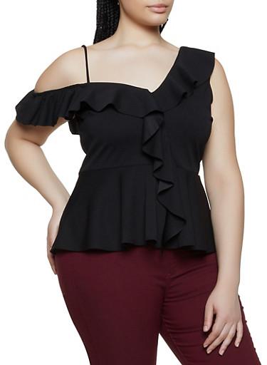 Plus Size Asymmetrical Ruffle Top,BLACK,large