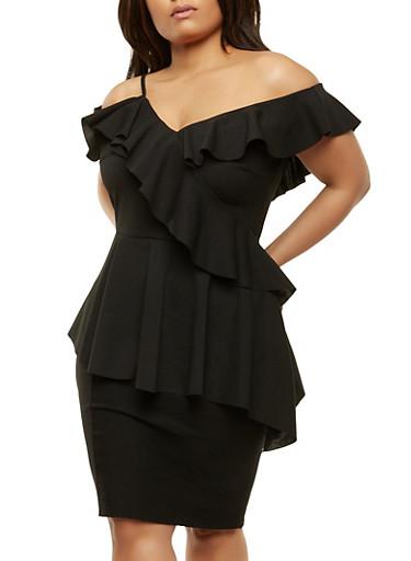 Plus Size One Shoulder Ruffle Top,BLACK,large