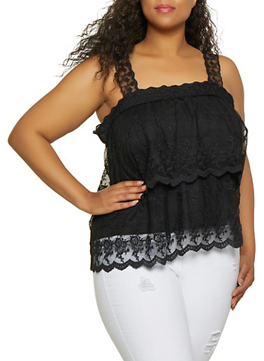 Plus Size Tiered Embroidered Mesh Top,BLACK,large