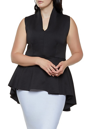 Plus Size Solid Scuba High Low Top,BLACK,large