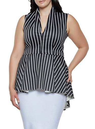 Plus Size Striped Scuba High Low Top,BLACK/WHITE,large