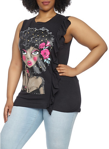 Plus Size Ruffle Side Graphic Tank Top,BLACK,large