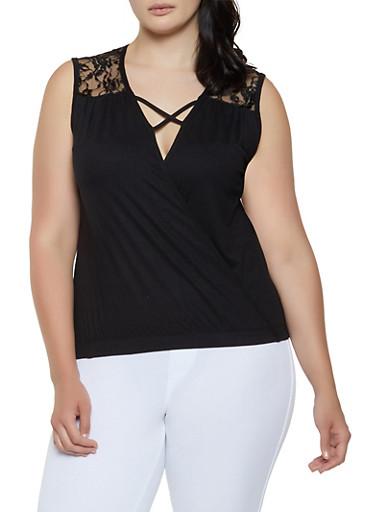 Plus Size Lace Yoke Faux Wrap Top,BLACK,large