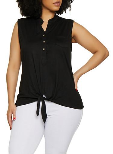 Plus Size Half Button Tie Front Top,BLACK,large