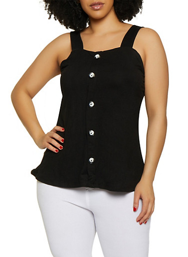 Plus Size Sleeveless Faux Button Front Top,BLACK,large